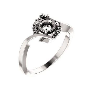 14k White Round Engagement Ring