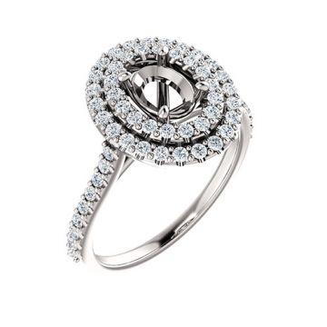 14k White Gold 5/8ct Diamond Semi-mount Engagement Ring