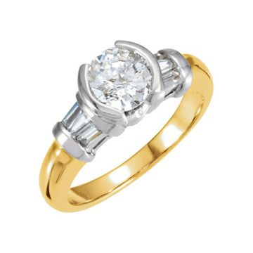 14k Two-Tone Gold Semi-Mount Engagement Ring
