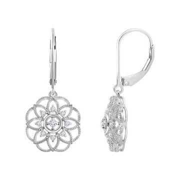 14k White Gold Diamond Granulated Filigree Earrings