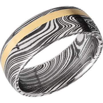 Lashbrook Black White & Yellow Damascus Steel 8mm Men's Wedding Band