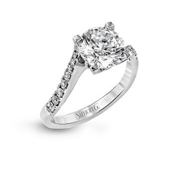 Simon G. 18k White Gold Passion Bypass Engagement Ring