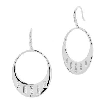 Freida Rothman 14k White Gold Plated Sterling Silver Hoops