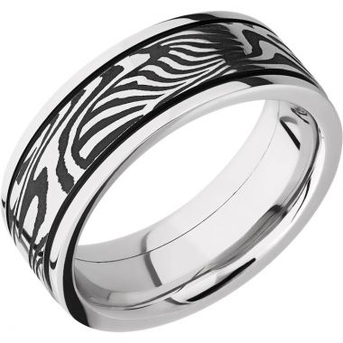 Lashbrook Black & White Cobalt Chrome 8mm Men's Wedding Band