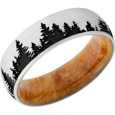 Lashbrook Black & White Cobalt Chrome Hardwood 7mm Men's Wedding Band