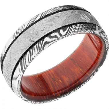Lashbrook White Damascus Steel Hardwood 8mm Men's Wedding Band